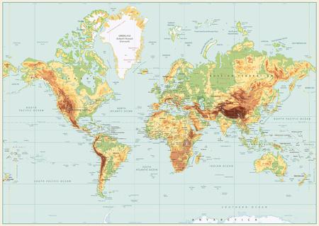 Mappa del mondo fisico dettagliata con colori retrò. Nessuna batimetria. Illustrazione vettoriale.