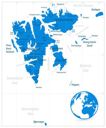 Svalbard Map Isolated On White. Vector illustration.