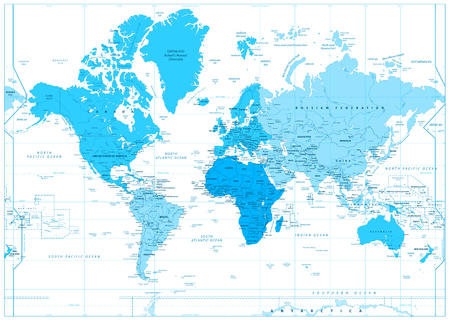 World Map with continents in colors of blue isolated on white. Highly detailed map illustration with countries, cities and water objects.