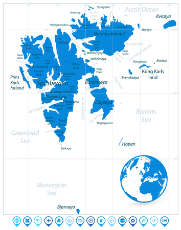 Svalbard Map Isolated On White and Map Pointers. Vector illustration.