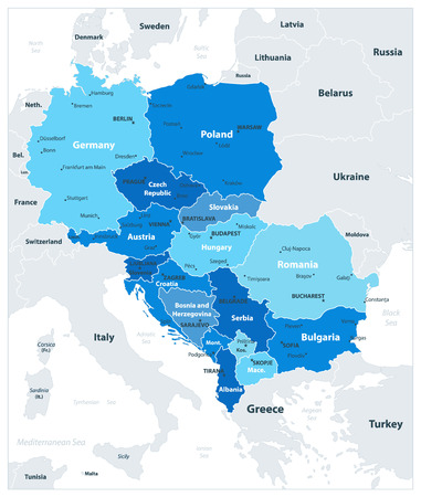 Central Europe Map In Colors Of Blue. Vector illustration.