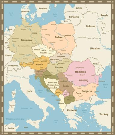 Central Europe Map Vintage Colors. Vector illustration.