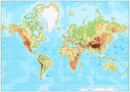 Mappa del mondo fisica vuota e batimetria. Illustrazione vettoriale.