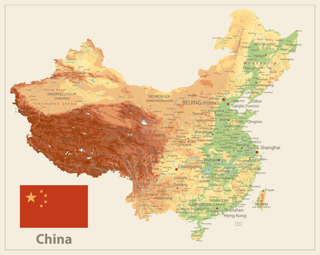 China Physical Map Isolated On Retro White Color. High Detailed Relief Map of China. Illustration