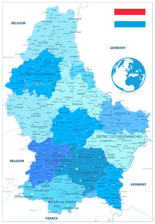 Administrative divisions map of Luxembourg in Colors of Blue. Highly detailed vector illustration.