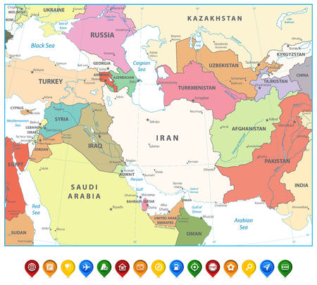 Southwest Asia Map and Map Markers Isolated on white. Detailed vector map of South West Asia.