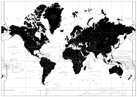 Black World Map isolated on white. Highly detailed map illustration with countries, cities and nwater objects.