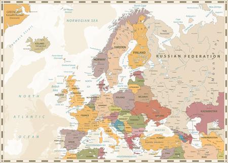 Carte politique de l'Europe. Couleurs rétro et bathymétrie. Illustration vectorielle détaillée de la carte de l'Europe.