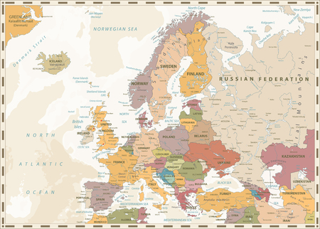 Europe Political Map. Retro Colors and Bathymetry. Detailed vector illustration of Europe Map.