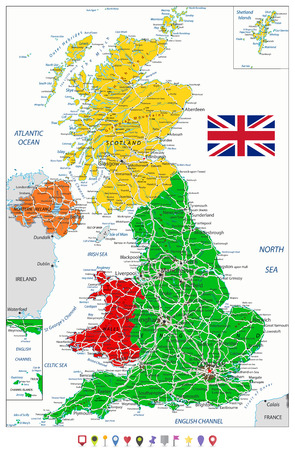 United Kingdom Political Map and flat map pointers with roads and water objects. Vector illustration.