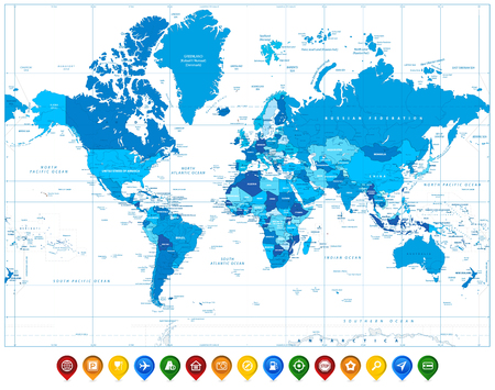 World Map in colors of blue and colorful map pointers. Highly detailed vector illustration of World Map.
