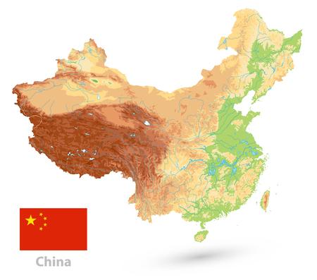 Carte physique de la Chine. Isolé sur blanc. Pas de texte. Carte de relief de Chine très détaillée. Vecteurs