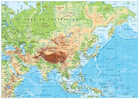 Mappa fisica dell'Asia con fiumi, laghi ed elevazioni.