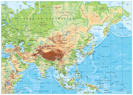 Asia physical map with rivers, lakes and elevations.