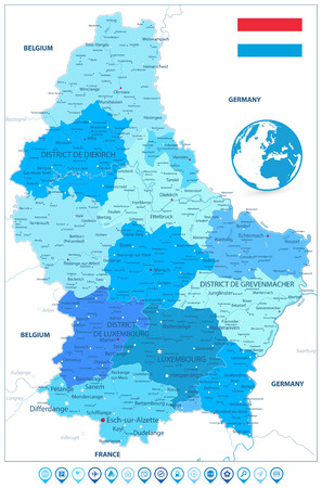 Administrative divisions map of Luxembourg in Colors of Blue and Map Markers. Highly detailed vector illustration.