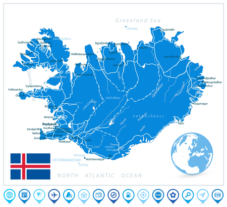 Iceland Map and Navigation Icons. Vector illustration.