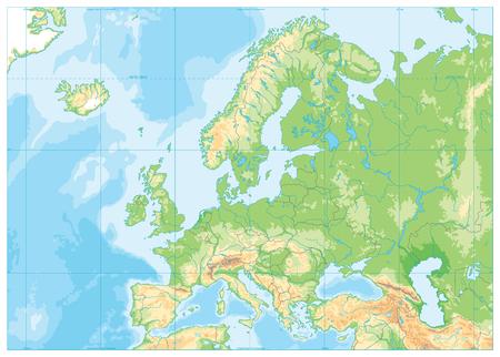 Carte physique de l'Europe. Pas de texte. Illustration vectorielle détaillée de la carte physique de l'Europe.