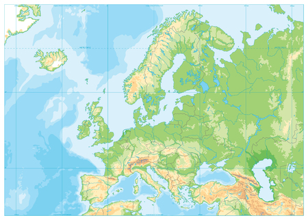 Mapa fizyczna Europy. Brak tekstu. Szczegółowa ilustracja wektorowa mapy fizycznej Europy.