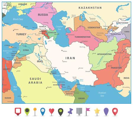 Mapa del suroeste de Asia y marcadores de mapa planos. Mapa de vectores detallado del suroeste de Asia. Ilustración de vector