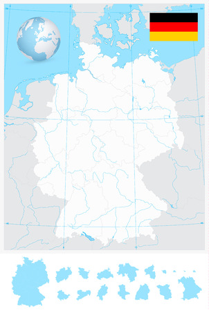 Highly detailed blank outline map of Germany with rivers. Vector illustration.