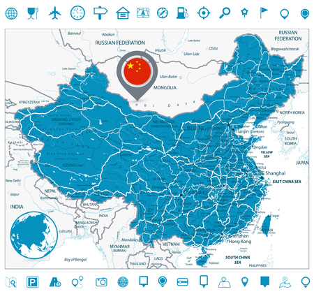 China Road Map and Navigation Icons. High detailed China Relief map with labeling.
