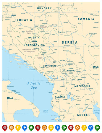 Central Balkan Region Map and Colorful Map Pointers. Vector illustration.
