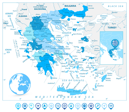 Greece Map and Map Markers in Colors of Blue. Detailed vector map of Greece.