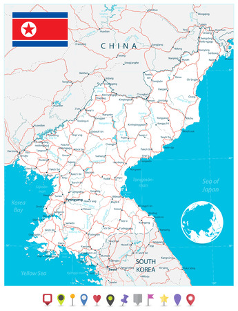 North Korea Map and flat map pointers. Vector illustration. Illustration