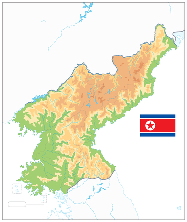 North Korea Physical Map Isolated on White. No text. Vector illustration.