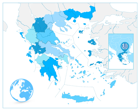 Greece Map in Colors of Blue. No text. Detailed vector map of Greece. Illustration