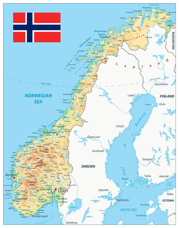 Norway Physical Map. Highly detailed map vector illustration. Image contains layers with shaded contours, land names, city names, water objects and its names, highways. Illustration