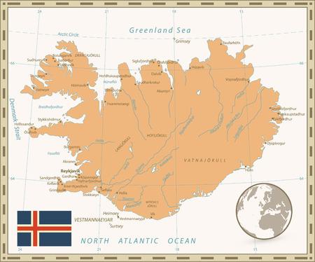 Iceland Map Vintage Color. Vector illustration.