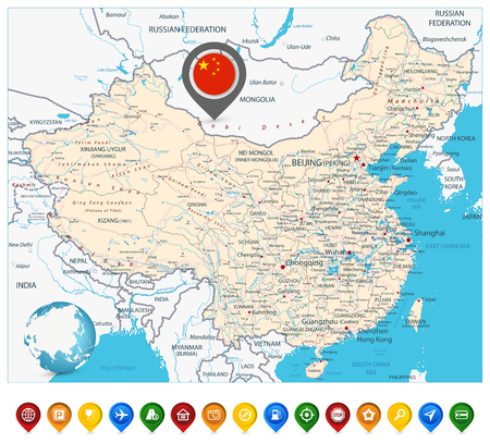 China Road Map and Map Markers. High detailed China Relief map with labeling. Ilustrace