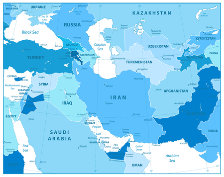 Southwest Asia Map in Colors of Blue. Detailed vector map of South West Asia.