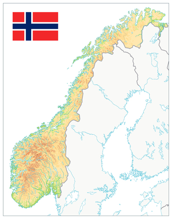 Norway Physical Map Isolated on white. No text. Highly detailed map vector illustration. Image contains layers with shaded contours, water objects. Illustration