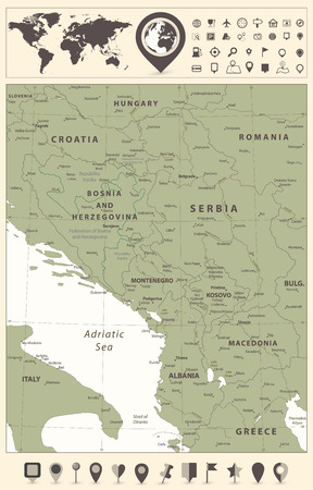 Central Balkan Region Map and World Map with navigation icons. Vector illustration.