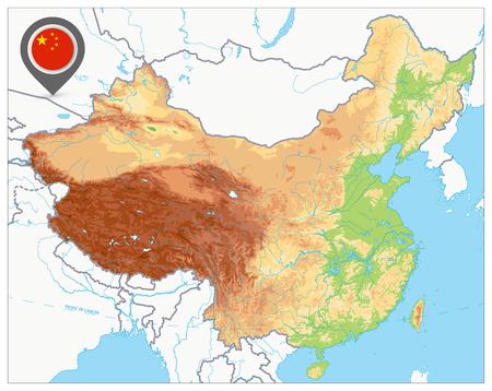 Carte physique de la Chine. Pas de texte. Carte en relief très détaillée de la Chine.