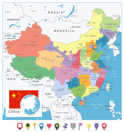 China Colored Map and Flat Pin Icons. Detailed vector map of China with cities, roads, railroads, rivers and lakes.