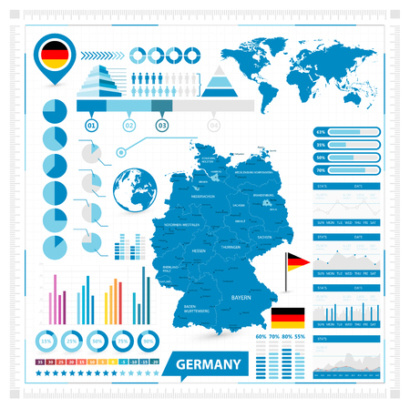 Vector map of Germany and infographic elements collection. Vector illustration.  イラスト・ベクター素材