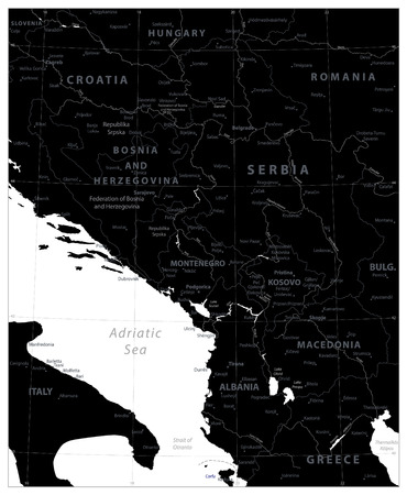 Central Balkan Region Map Black Color. Vector illustration. Illustration