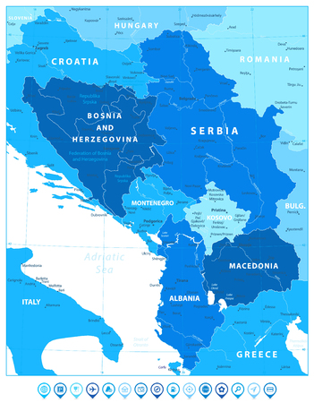 Central Balkan Region Map in Colors Of Blue and Map Pointers. Vector illustration.
