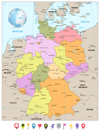 Administrative divisions map of Germany with flat icons. Vector illustration.