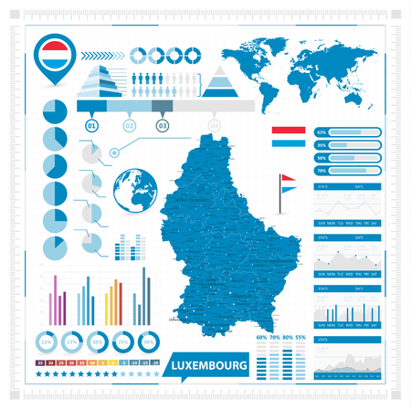Luxembourg Vector map and infographic elements. Vector illustration. Banque d'images - 113963876