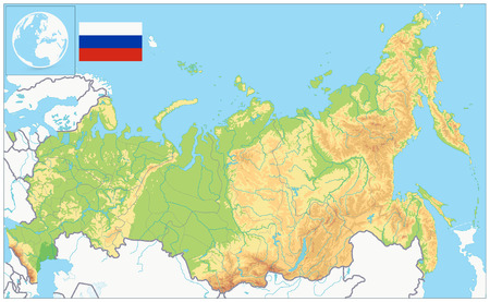 Russia Physical Map. No text. Highly detailed map vector illustration. Image contains layers with shaded contours, water objects. Illustration