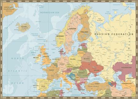 Carte politique de l'Europe. Couleurs et bathymétrie vintage. Illustration vectorielle détaillée de la carte de l'Europe.