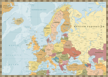 Europe Political Map. Vintage Colors and Bathymetry. Detailed vector illustration of Europe Map.