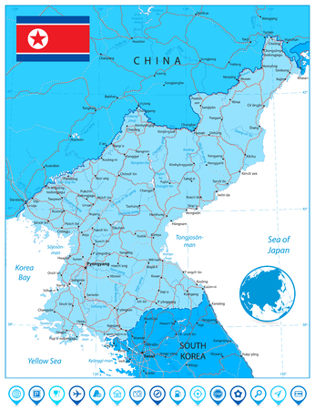 North Korea Map blue color and pin icons. Vector illustration. Illustration