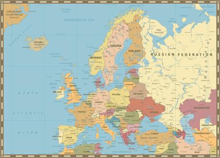 Mapa político de Europa. Colores Vintage. Ilustración vectorial detallada del mapa de Europa.
