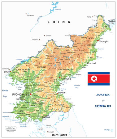 North Korea Physical Map Isolated on White. Vector illustration.