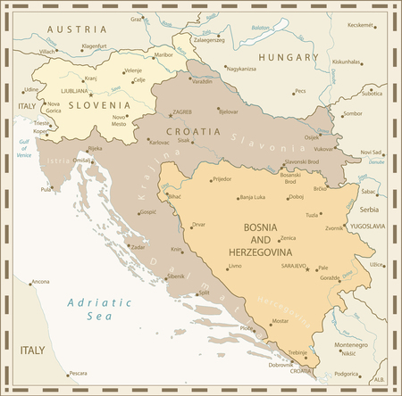 Map of the Western Balkans Retro Colors. Vector illustration.